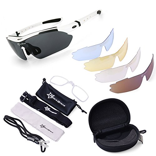 ROCKBROS Cycling Sunglasses -Sports outdoor polarised Sunglasses -White 100% UVA UVB Eye Protection Glasses 5 Lens for Outdoor Sports like Running Trekking Casual Driving Hiking Skiing Surfing Shooting Fishing, [Importado de UK] 5