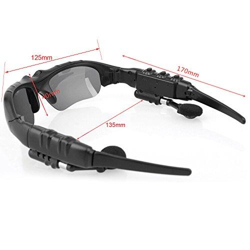 THB-368 Inalámbricas manos libres estéreo auriculares Bluetooth gafas de sol con lente gris oscurezca 2
