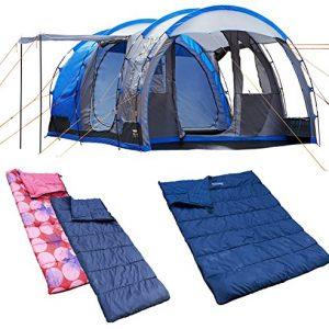 4 – 1 tienda Camping hombre smartphonez/1dbl + 2 sgl sacos de dormir