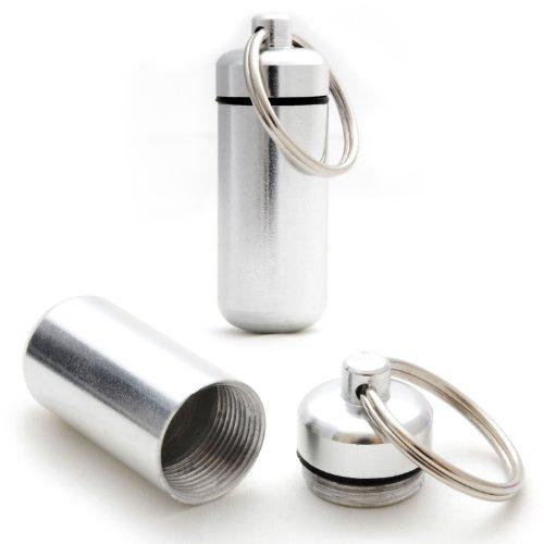Ganzoo - Minicápsulas impermeables de almacenamiento para objetos pequeños, llavero con cierre de rosca y junta de goma, fabricadas en aluminio, 45 mm, 6 unidades, color negro, plata, rojo, azul, amarillo y verde 3