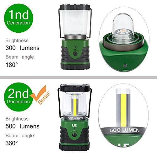 LE 500lm Outdoor LED Lantern, 3 Modes, Portable, Battery Powered, IPX4 (Splash-proof), Shockproof/Skid proof, Home/Garden Lanterns for Hiking/Camping/Emergencies/Hurricanes/Outages 2
