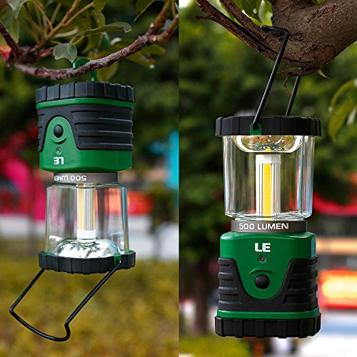 LE 500lm Outdoor LED Lantern, 3 Modes, Portable, Battery Powered, IPX4 (Splash-proof), Shockproof/Skid proof, Home/Garden Lanterns for Hiking/Camping/Emergencies/Hurricanes/Outages 3