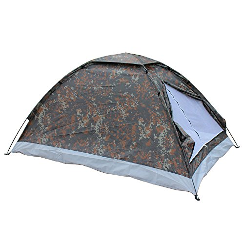 Lixada 2 Person Camping Tent Single Layer Outdoor Portable with Carry Bag Camouflage