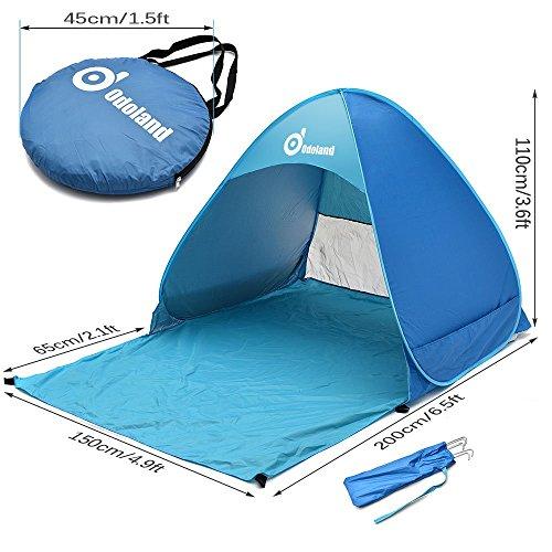 ODOLAND Parasol Basecamp Refugio automática Pop Up Instant tienda portable rápida al aire libre cabaña de playa plegable Refugio Sol, Azul 2