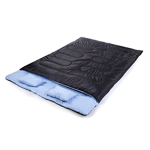 Outad – Saco de dormir doble, impermeable, color negro y azul