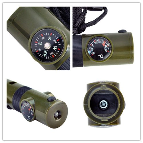 SODIAL(R) 7 in 1 Military Style Emergency Whistle Survival Kit Compass Thermometer LED 1