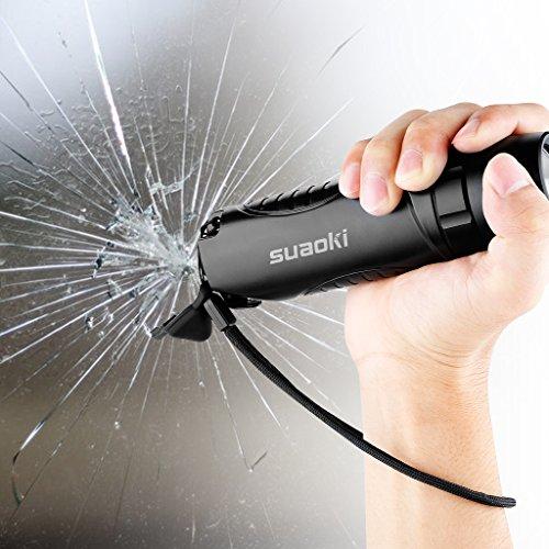 Suaoki TC7 - 5200mAh Linterna LED Recargable Impermeable IPX6 (Cargador Batería Externa, Martillo de Emergencia, Cortador cinturón seguridad, Carga USB) 1