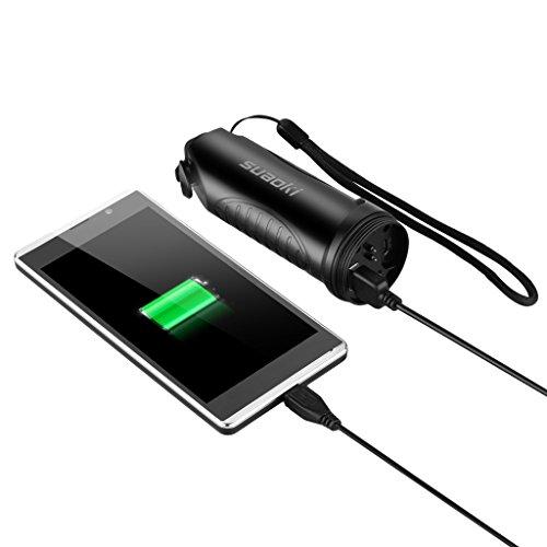 Suaoki TC7 - 5200mAh Linterna LED Recargable Impermeable IPX6 (Cargador Batería Externa, Martillo de Emergencia, Cortador cinturón seguridad, Carga USB) 2
