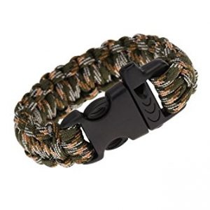TOOGOO(R) Paracord Parachute Cord Emergency Kit Survival Bracelet Rope with Whistle Buckle Outdoor Camping Camo-4