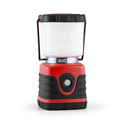 Yukatana Yantilus Linterna para camping (flujo luminoso 600lm, 6 luces LED, duracion de la batería litio 150h, lumigas electrico con alcance 12m, funciones intensidad luz, base cuadrada, incluye asa y gancho)