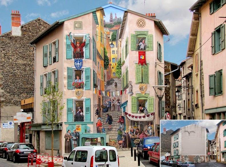 Fachadas falsas: Inteligente Arte callejero de Patrick Commecy
