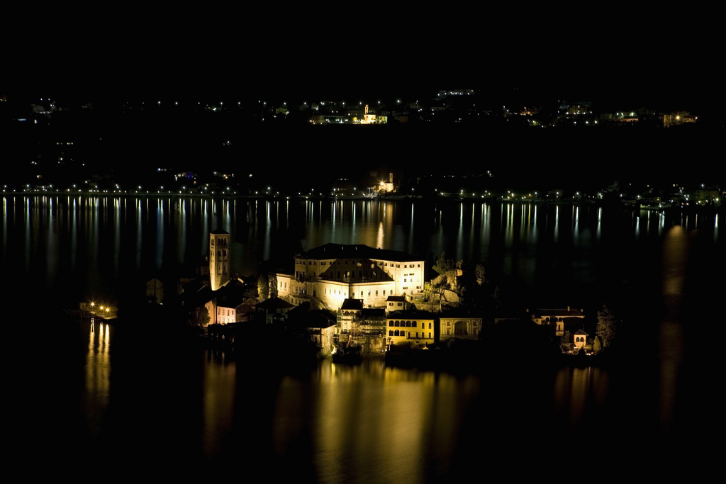 The Isola San Giulio in the Lago d'Orta viewed from Sacro Monte