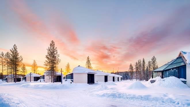Sunrise at Santa's Igloos Arctic Circle, Rovaniemi, Finland