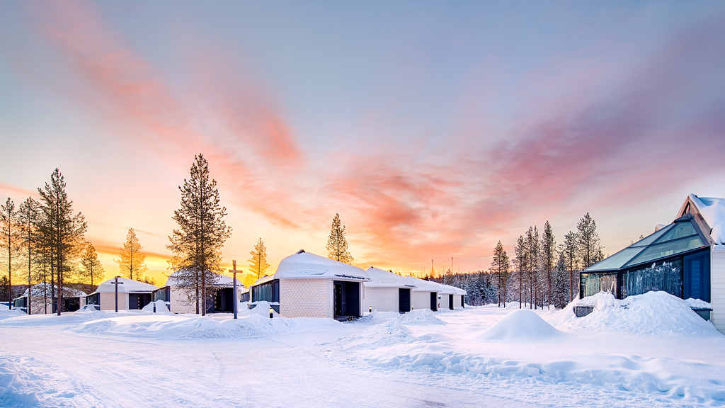 Sunrise at Santa's Igloos Arctic Circle, Rovaniemi, Finland